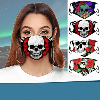 Fashion Print Skull Washable Fabric Reusable Face Mask Outdoor Protective PM2.5 Filter Windproof Face Mouth-muffle Masque #LR4