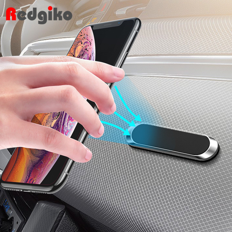 Magnetic Car Phone Holder Dashboard Mini Strip Shape Stand For IPhone Samsung Xiaomi Metal Magnet GPS Car Mount For Wall
