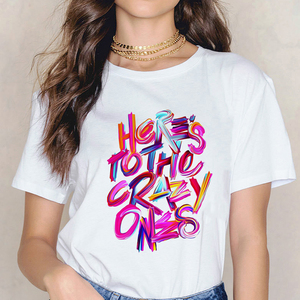 Women's T-shirt Casual Fashion Slim Summer O-neck Short-sleeved T-shirt Shirts Women Top Letter Printing T-shirt Modal Harajuku