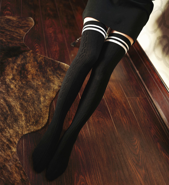 1 Pair cotton Fashion Sexy Warm Thigh High Over the Knee Socks Long students stripe Stockings For Girls Ladies Women