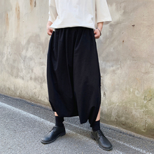 Harajuku Male Black Big Crotch Cross-pants Streetwear Mens Pants Harem Trouser Dance Split Skirt Hiphop Baggy Wide Legs