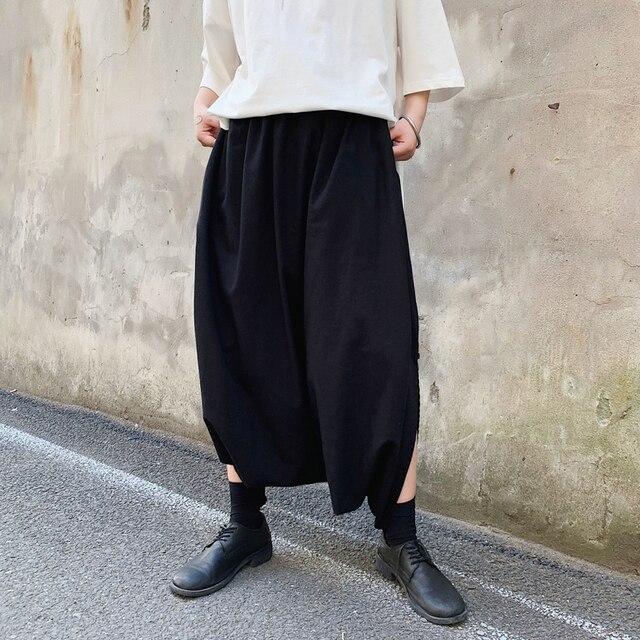 Harajuku Male Black Big Crotch Cross-pants Streetwear Mens Pants Harem Trouser Dance Split Skirt Hiphop Baggy Wide Legs 31