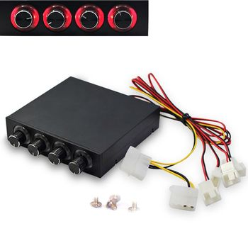 3.5inch PC HDD 4 Channel Speed Fan Controller with Blue/Red LED Controller Front Panel For Computer Fans
