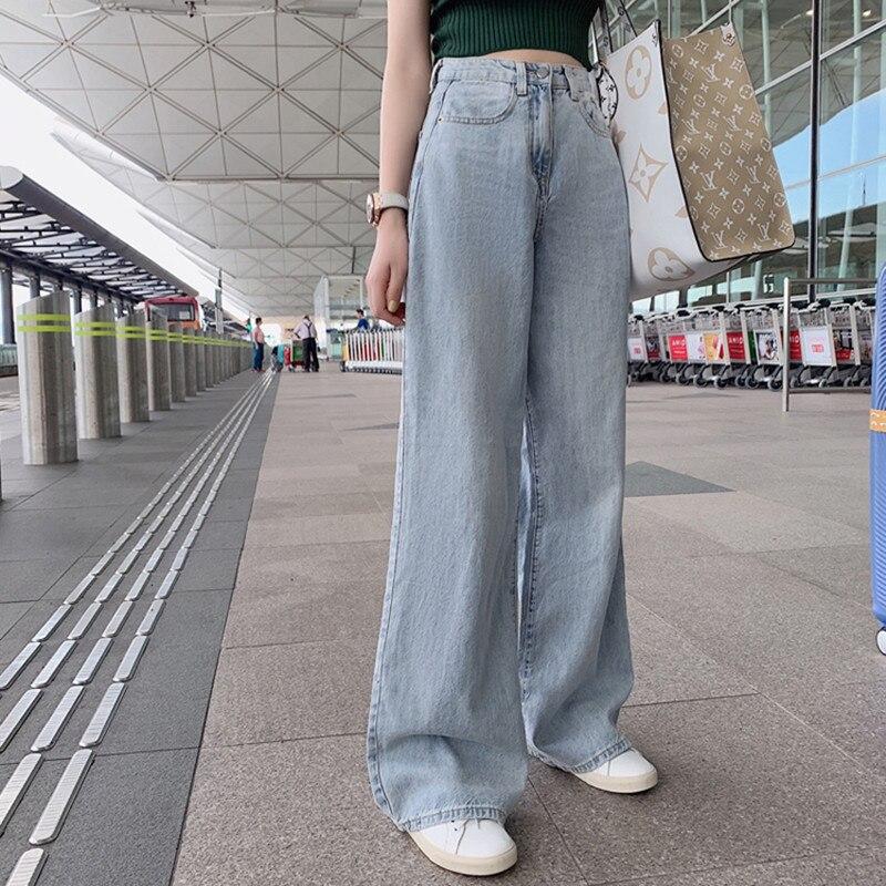 אישה ג 'ינס גבוה מותניים בגדי רחב רגל ג' ינס בגדים כחול Streetwear בציר איכות 2021 אופנה Harajuku ישר מכנסיים