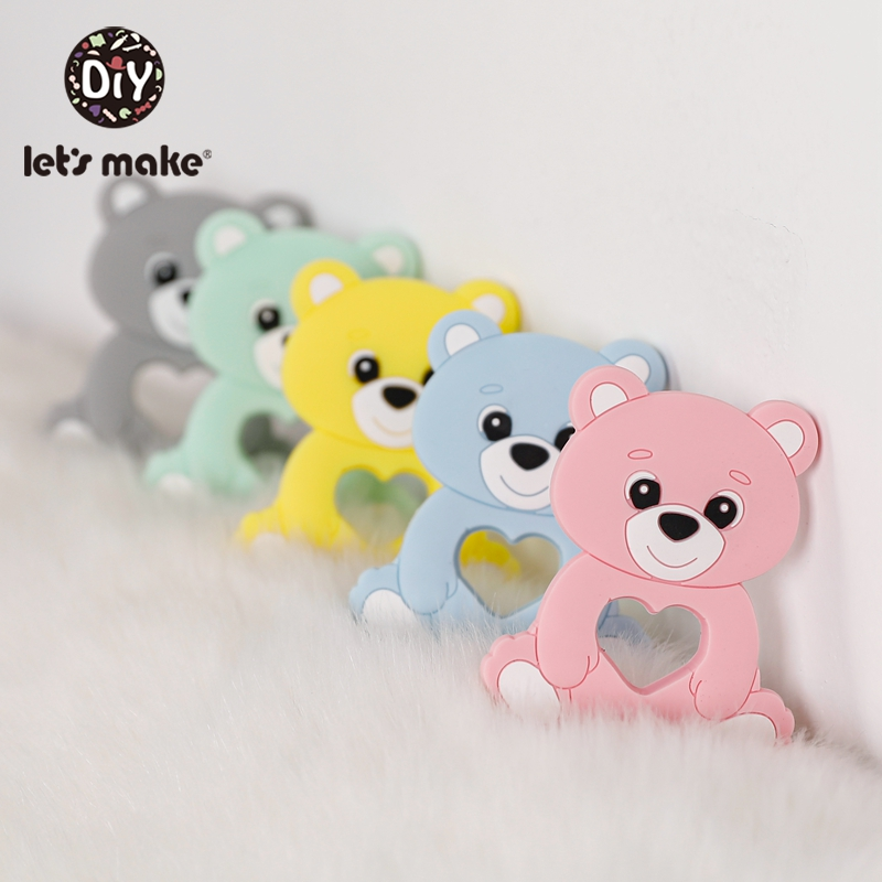 Let'S Make 10Pc Baby Teether Silicone Baby Teether Necklace Bpa Free Food Grade Silicone Bear Cartoon Bead Stroller Baby Teether