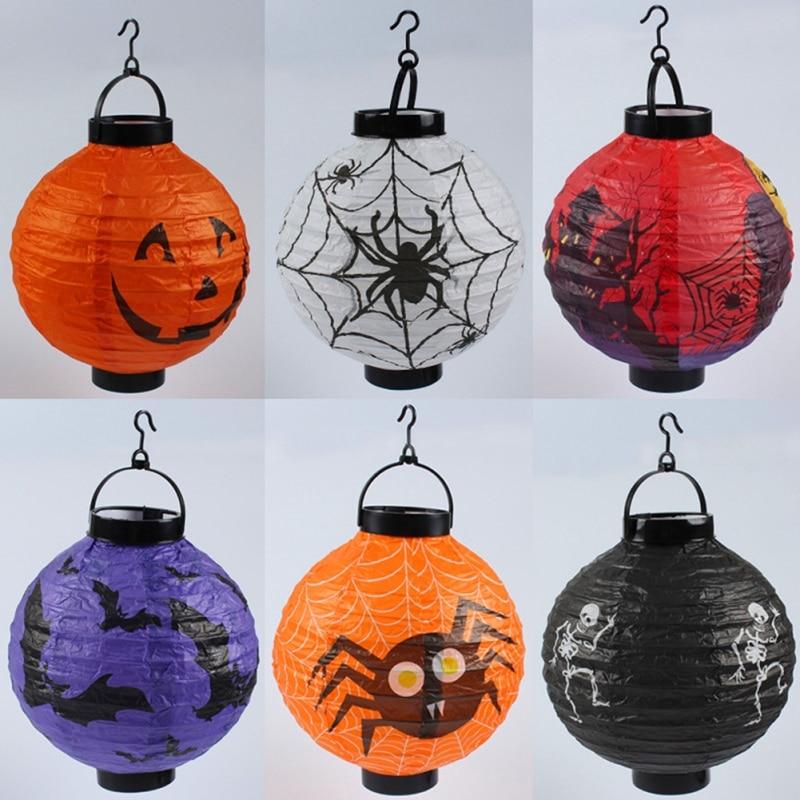 Halloween Pumpkin Lantern DIY Decoration Props Led Glow Folding Portable Spider Bat