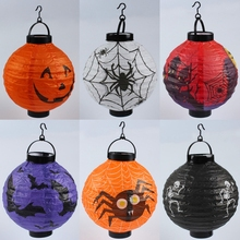 Halloween Pumpkin Lantern DIY Decoration Props Led Glow Folding Portable Spider Bat