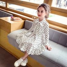 Humor Bear Girl Dresses Korea Fashion Chiffon Dots Long Sleeve Children Princess
