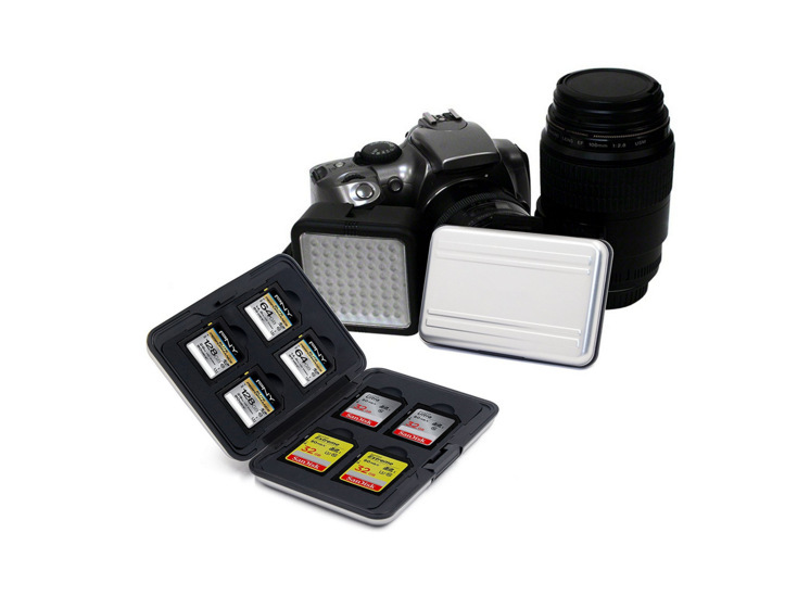 NEW Portable Black Aluminum Memory Card Case 16 Slots (8+8) For Micro SD SD/ SDHC/ SDXC Card Storage Holder New Card Case 5