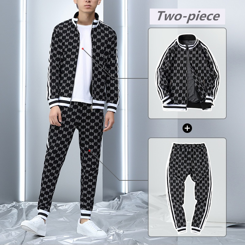 2020 New Tracksuits Men Polyester Sweatshirt Sporting Gyms Spring Jacket + Pants Casual Men's Track Suit Sportswear Fitness