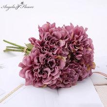 Ucuz 5 adet/demet yapay çiçekler krizantem buket ipek gül sahte çiçek ortanca düğün ev dekor şakayık fotoğraf sahne