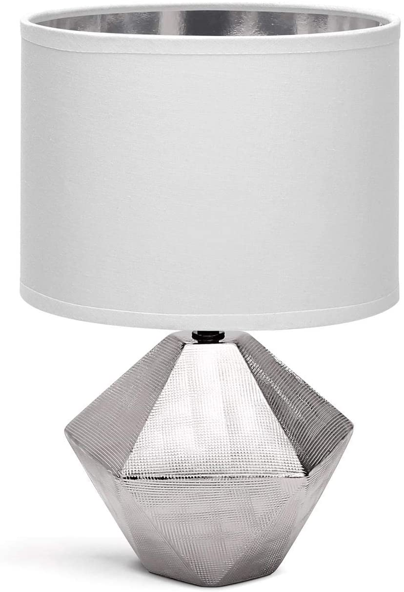 Aigostar Bedside <font><b>Lamp</b></font>, Modern <font><b>Table</b></font> <font><b>Lamp</b></font> <font><b>Ceramic</b></font> <font><b>Base</b></font> Fabric Shade, E14 <font><b>Base</b></font>, 22 * 22 * 32cm Cable 1.3 Meters, Vintage Design. image