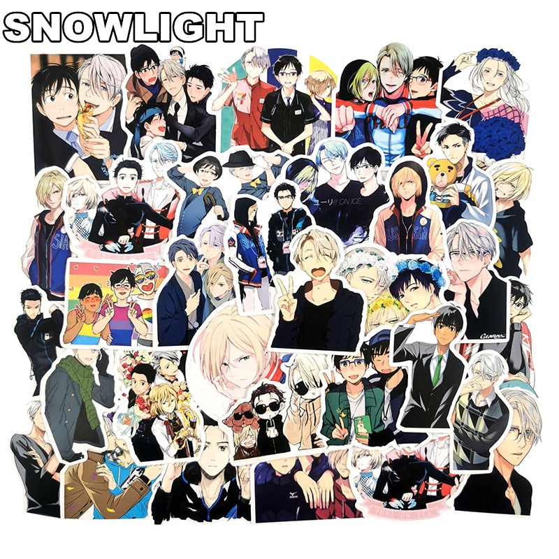 50 PCS Japanese Anime YURI!!! On ICE Doodle Waterproof Sticker Gift Toys For Children DIY Laptop Fridge Suitcase Skateboard