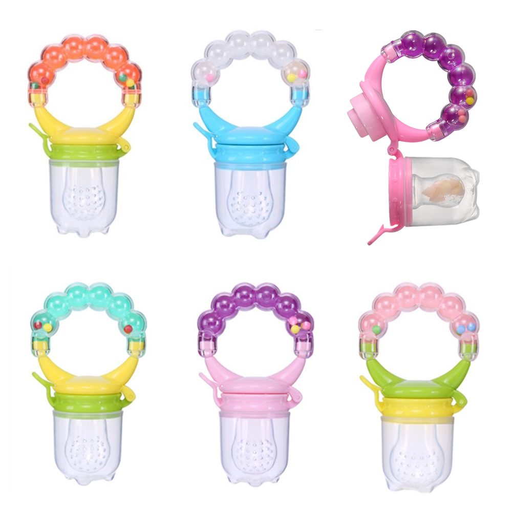 Safety Silicone Milk Fresh Fruit Nibbler Feeder For Baby Pacifier Bottle Baby Training Feeding Cup With Handle 5 Color Available