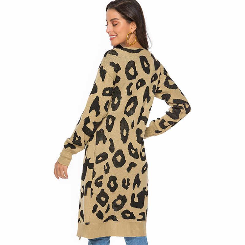 2019 Winter Fashion Leopard Print Long Cardigans Plus Size Casual Pockets Women Sweater Coat