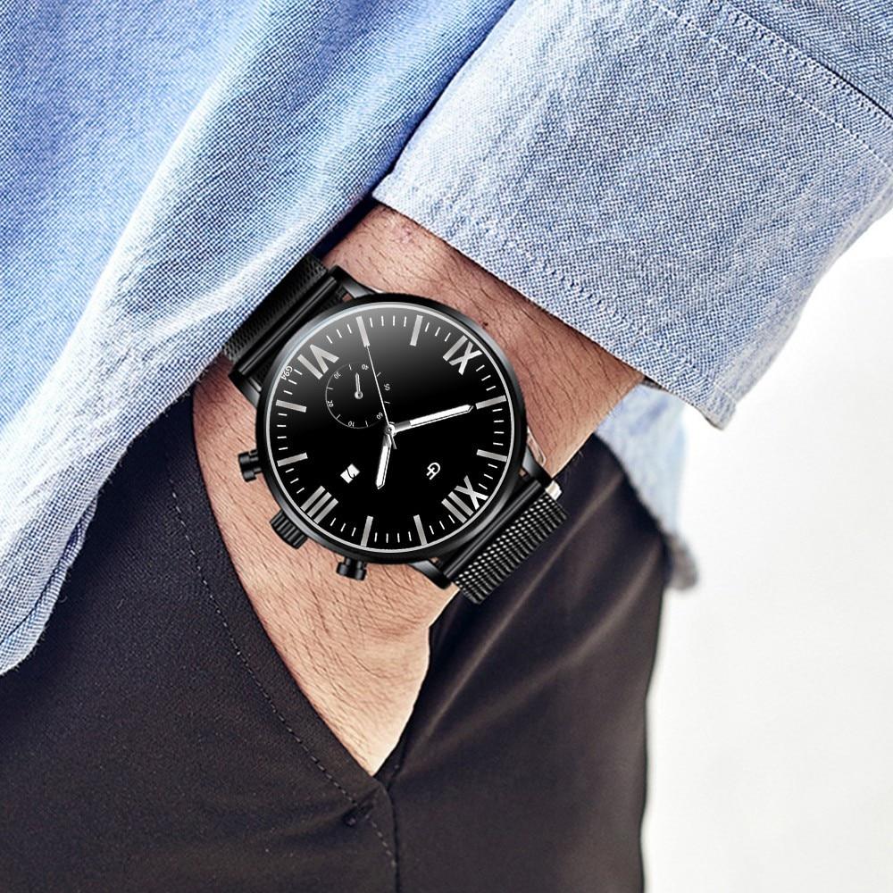 Man watches High-End Simple Calendar Men's Watch  Quartz Stainless Steel watch mens montre bois homme mannen horloge 2019