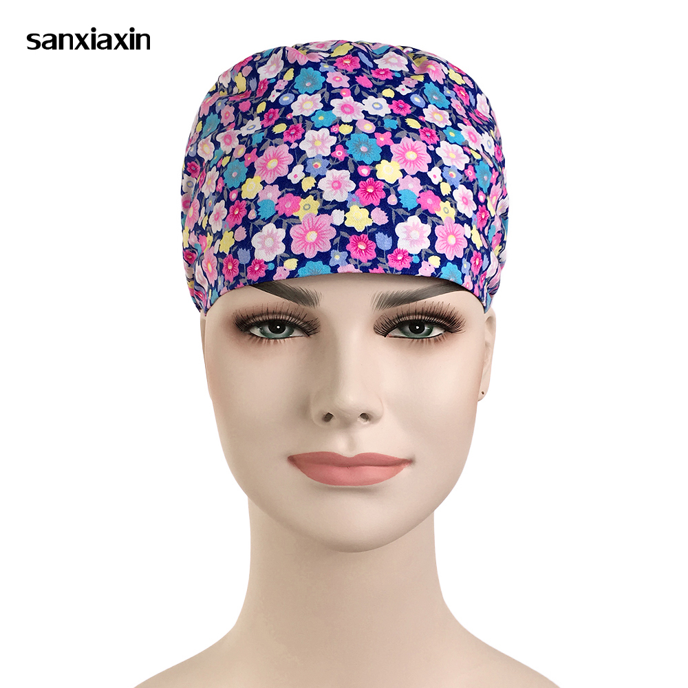 Medical Doctor Nurse Surgical Cap Cotton Purple Floral Printing Beauty Salon Cap Scrub Lab Clinic Dental Operation Hats Unisex