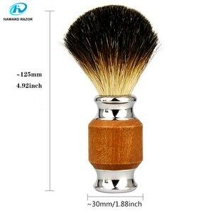 Image 3 - Haward escova de barbear para homens, badger puro, madeira e zinco, alça de liga, espuma, escova de barbear profissional escova