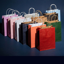 Packaging-Bags Custom Handles Kraft-Paper with for Commercial Commercial