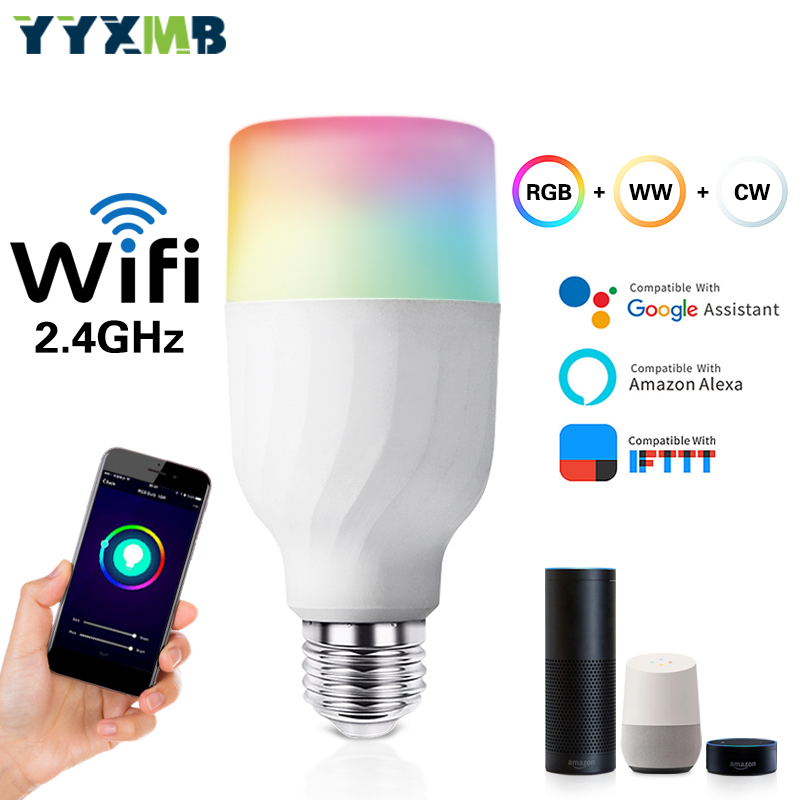 Smart tuya lamp WiFi E27 7W Light Bulb Compatible Amazon ECHO/Google Home/IFTTT RGBCW Dimmable Voice control
