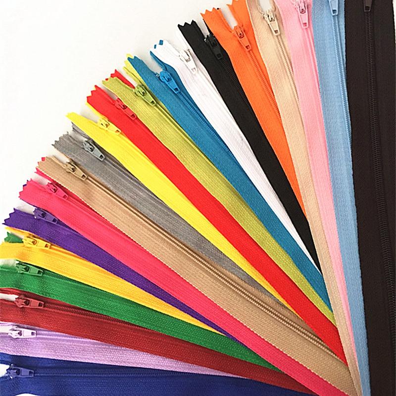 10 pces 10-60cm (4 polegadas-24 polegadas) zíperes de bobina de náilon alfaiate sewer craft crafter (20 cores)