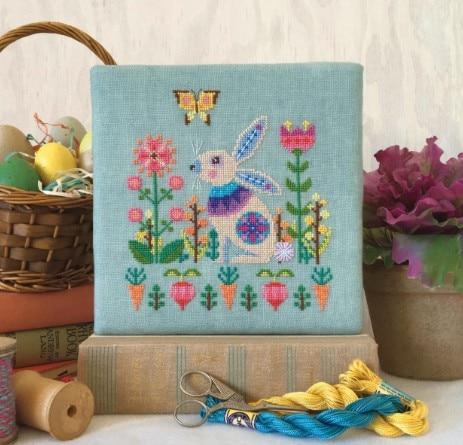 CS-3087 Cross Stitch Kit Flower Garden Bunny Rabbit and Carrots Butterfly
