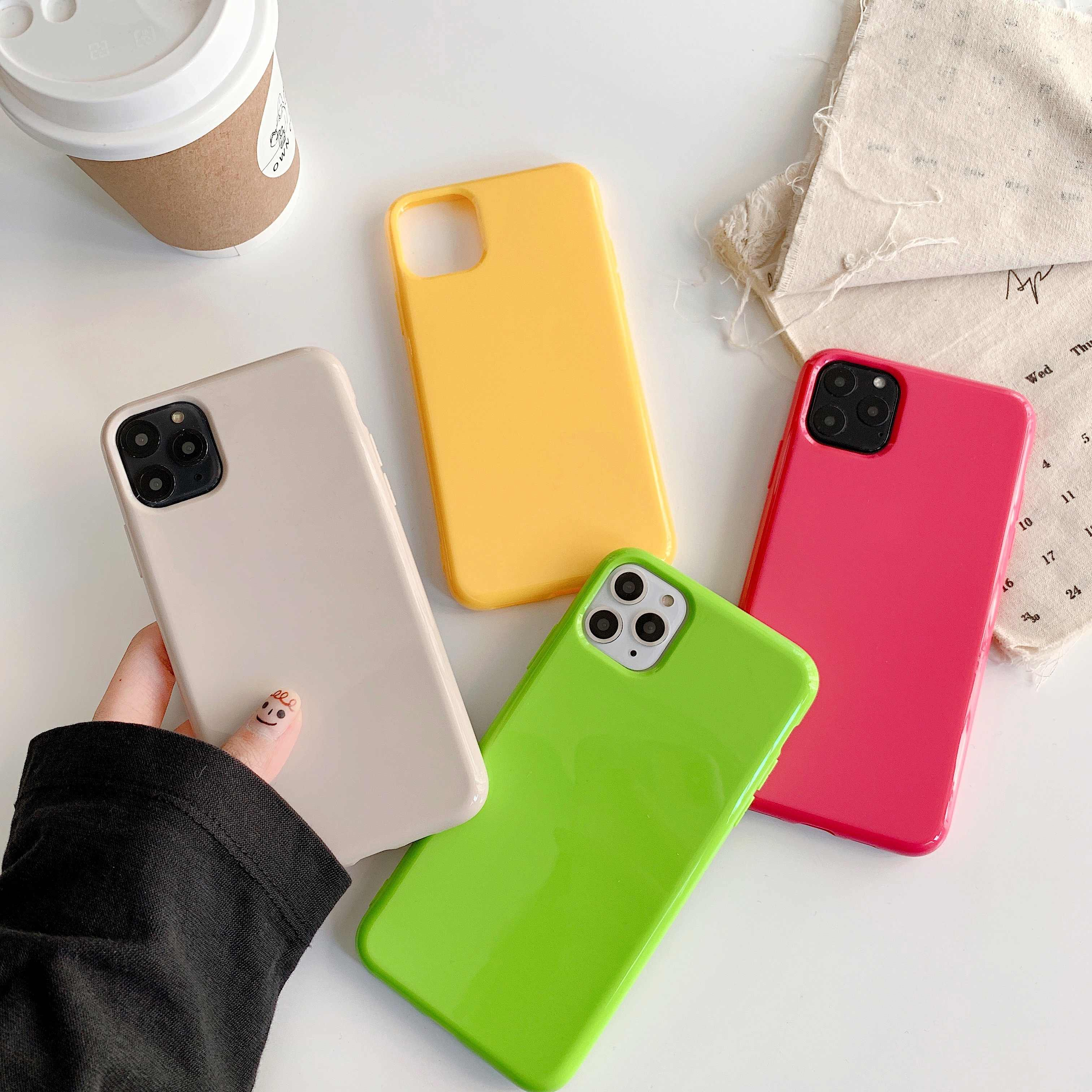 Ranipobo Fashion Sample Pure Kleur Glad Dikke Soft Shell Voor Iphone 11 Pro Xr Xs X Xs Max 7 8 6 6S Plus Pure Kleur Telefoon Shell