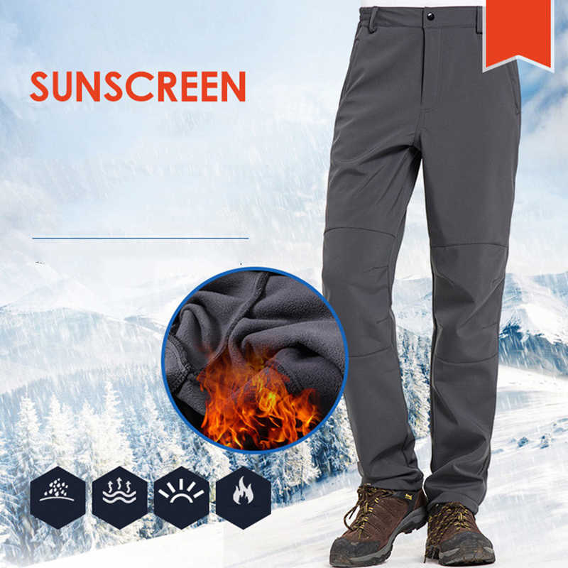 Men Women Long Pants Outdoor Sports Waterproof  Winter Ski Pants Softshell Fleece Pants Skiing Trekking Hiking Camping Trousers