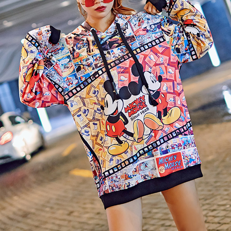 Spring Autumn Women Hooded Sweatshirt Micket Cartoon Hoodies Casual Loose Plus Size Pullover Streetwear Long Sleeve Cute Top in Hoodies amp Sweatshirts from Women 39 s Clothing