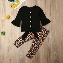 Spring V Neck Long Flare Sleeve Tops Shirt Leopard Pants Headband Outfit 2PCS Costume 2020 Newborn