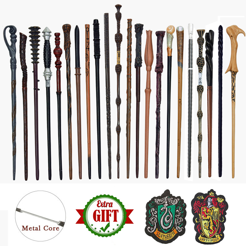 28 Kinds Of Metal Core Potters Magic Wands Snape  Ron Voldemorte Hermione Magical Wand Harried Cloth Label As Bonus Without Box