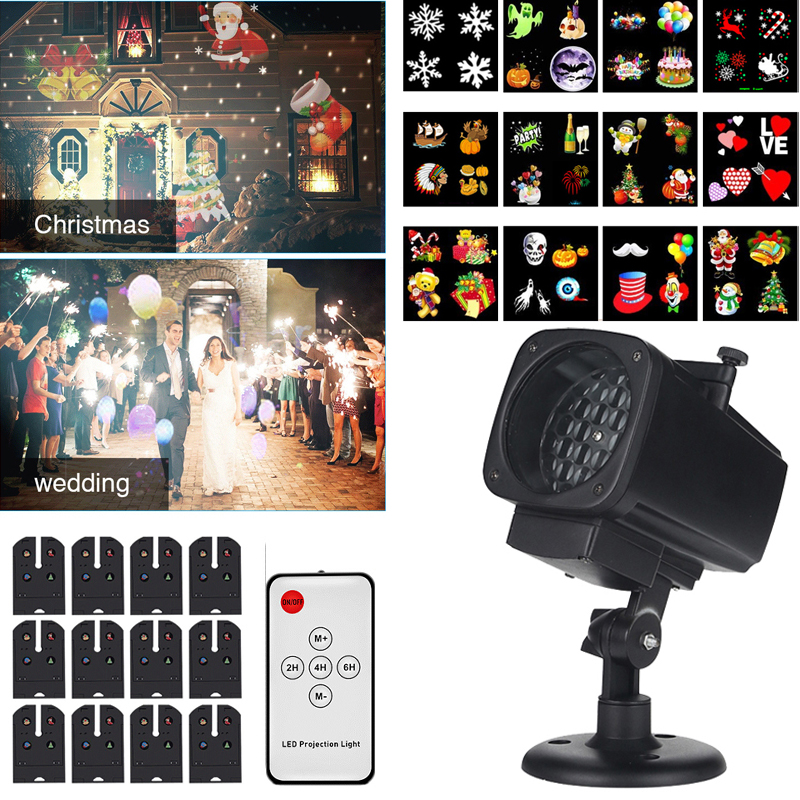 Christmas Projector Lights Waterproof LED Laser Snowflake Projector 12 Film Cards Stage Light For New Year Christmas Home Garden