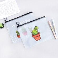 Pencil-Case Unicorn Opens-Supplies Transparent Leopard School Kawaii Cactus Gift Office