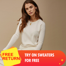 adohon 2020 woman winter 100% Cashmere sweaters  knitted Pullovers jumper High Quality Warm Female O-neck Black white cheap top