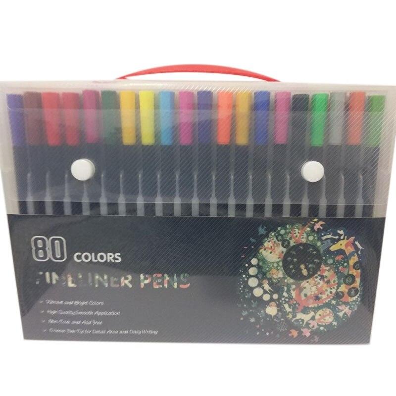 80pcs cor da caneta marcador caneta caneta aquarela linha fina caneta marcador de arte pintura pintura