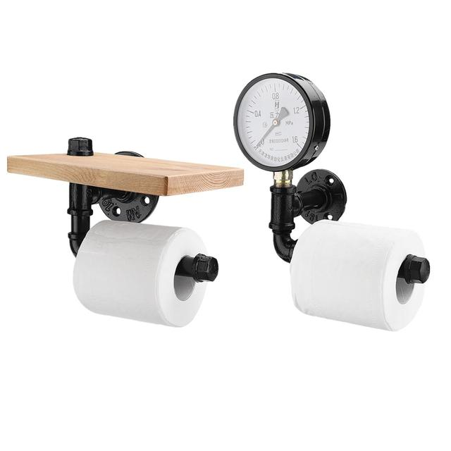 Toilet Paper Roll Holder with Phone Holder Wall Mounted Shelf Floating Water Pipe Rack Rustic Industrial Household Items