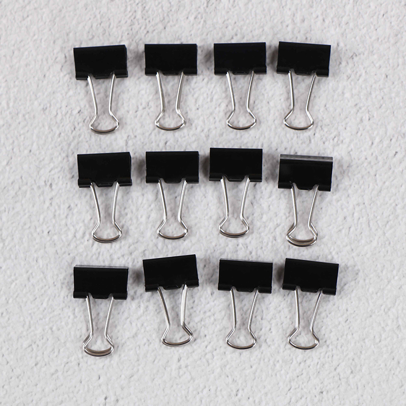 12PCS/Set  Black Metal Binder Clips Notes File Letter Paper Clip Photo Binding Stationery Accessories Office Supplies 19mm