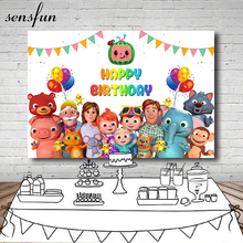 Sensfun Cocomelon Famiglia Fondali Fotografia Bunting Palloncini Per Bambini Festa di Compleanno Sfondi Per Foto In Studio 7x5ft Vinile