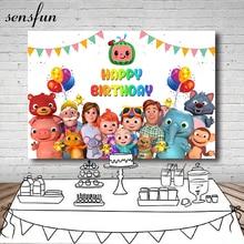 Sensfun Cocomelon Family Photography Backdrops Bunting Balloons Children Birthday Party Backgrounds For Photo Studio 7x5ft Vinyl