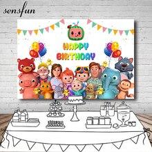Sensfun cocomelon家族写真撮影の背景ホオジロ風船子供の誕生日パーティー写真スタジオの背景 7x5ftビニール
