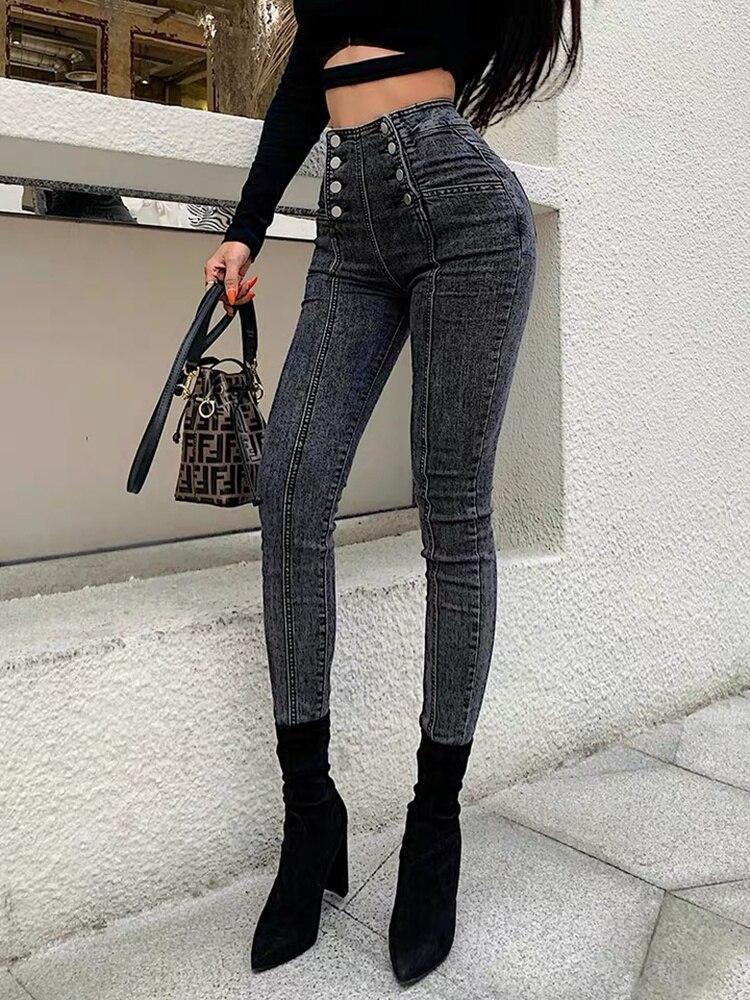 Джинсы с высокой талией женские двубортные Эластичные Обтягивающие джинсы укороченные брюки модные Универсальные синие темно-серые