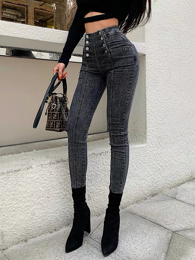High waist jeans women's double breasted elastic skinny jeans cropped pants fashionable versatile blue dark gray sexy show thin|Jeans| - AliExpress