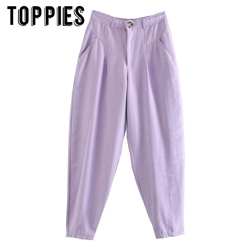 2020 Fashion Women Purple Banana Pants Trousers Pockets Buttons Female Casual Pants Pantalon
