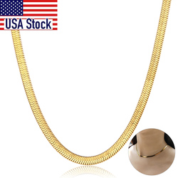Chic Flat Snake Link Choker Gold Color Collar Stainless Steel Necklace for Women Herringbone Chain High Quality Jewelry DN223A