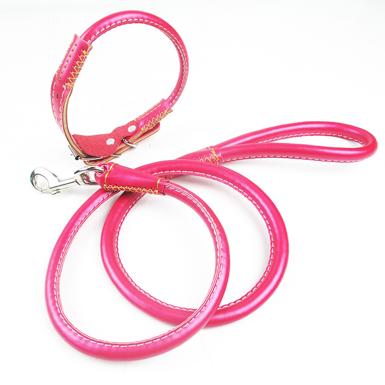 Wholesale Traction 1.2 Chunky Pu Round Lanyard Distraction Puppy Lanyard Small Teddy Pomeranian Small Dogs Hand Holding Rope Pup