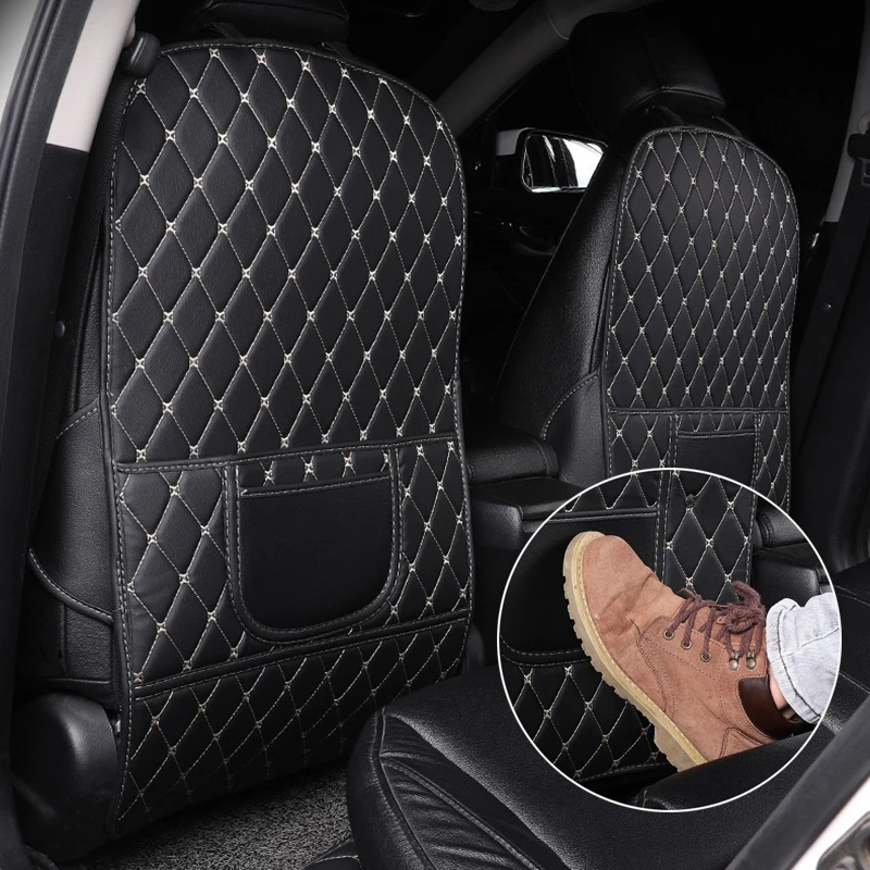 PU Leather Anti-Child-Kick Pad for Car Waterproof Seat Back Protector Cover Universal For Nissan logo Qashqai J10 J11 X-Trail t3