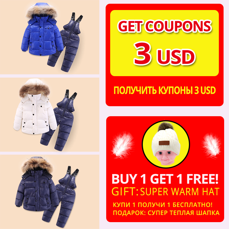 IYEAL  Russia Winter Children Clothing Set for Infant Boys Down Cotton Coat +Jumpsuit Windproof Ski Suit Kids Baby Clothes 3