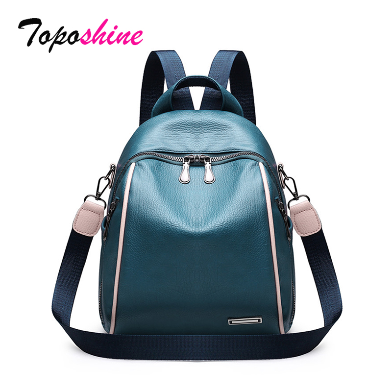 Toposhine 4 Color Women Backpacks High Quality Small Women Backpacks Fashion Ladies Backpack Girls School Bag Popular Blue Bags