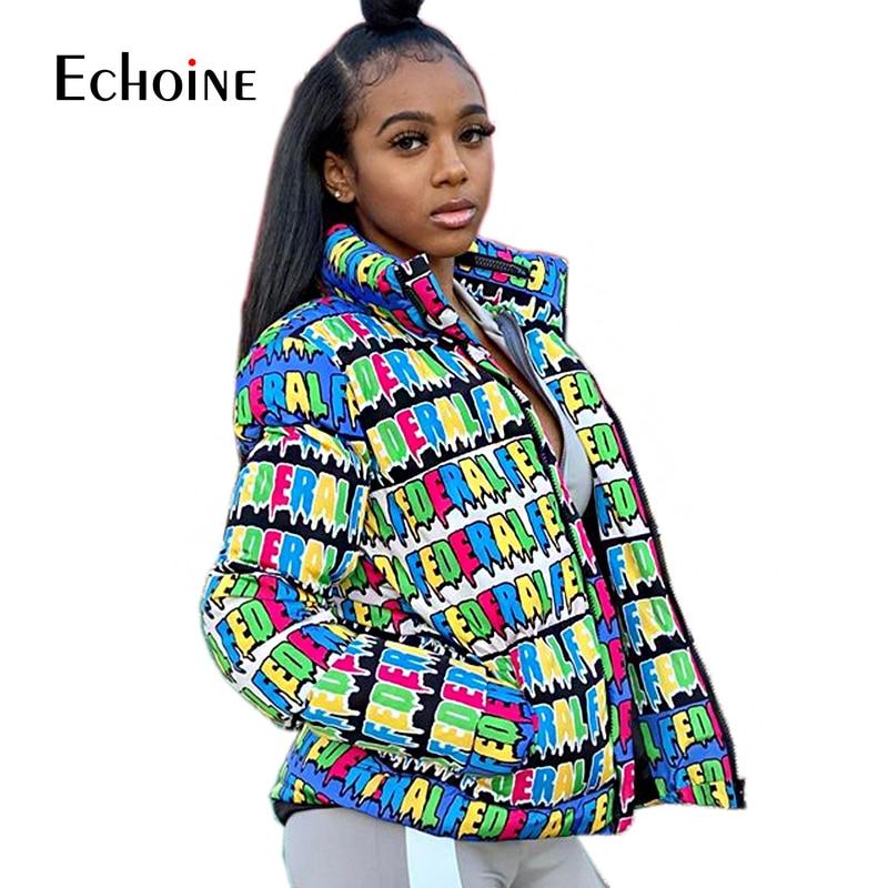 Fashion Letter Print Winter Down Jacket Women Festival Warm Parka Bubble Coat Top Warm Thick Stripe Crop Outwear Puffer jacket