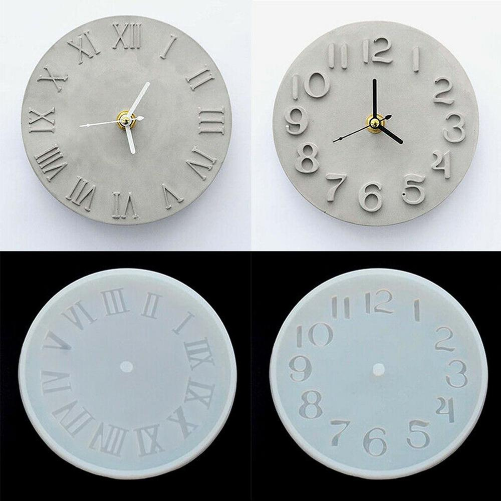 DIY Cement Concrete Silicone Mold DIY Craft Clock Making Clay Plaster Clay Cement Clock Mould Tool For Home Supplies